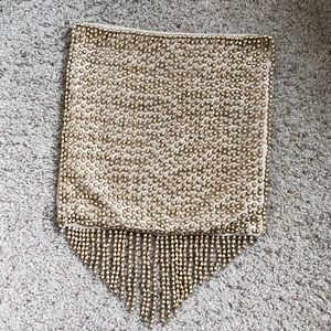 Other - Gold Beaded Fringe 12X12 Pillow Case